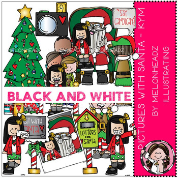 Melonheadz: Pictures with Santa clip art - Kym - BLACK AND WHITE