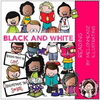 Melonheadz: Reading clip art - BLACK AND WHITE