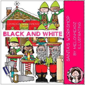 Melonheadz: Santa's Workshop clip art - BLACK AND WHITE
