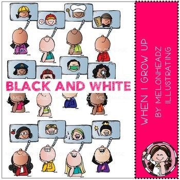 Melonheadz: When I Grow Up clip art - BLACK AND WHITE