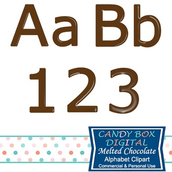 Melted Chocolate Brown Clip Art Alphabet