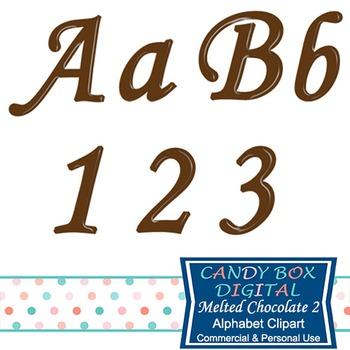 Melted Chocolate Brown Cursive Clip Art Alphabet