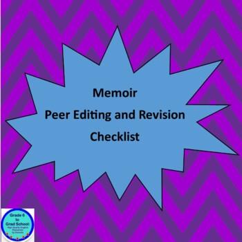 Memoir Peer and Self Editing and Revising Checklist