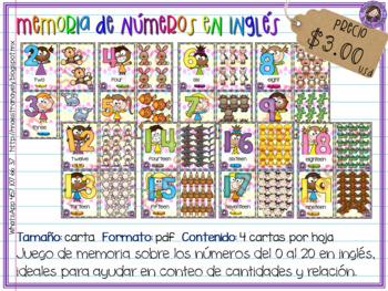Memoria de números 0 al 20 en inglés