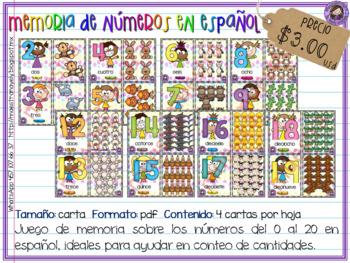 Memoria de números 0 al 20 español