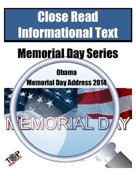 Memorial Day Close Reading Barack Obama Address 2014