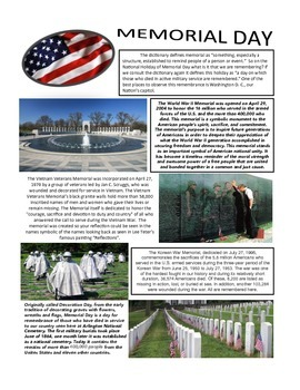 Memorial Day Informational Text with Questions (FREE)