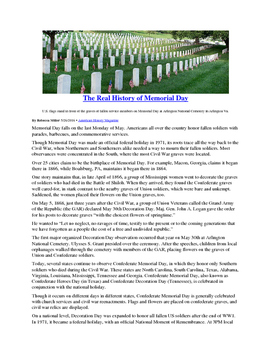 Informational Text - Memorial Day: The Real History (Sub Plans)