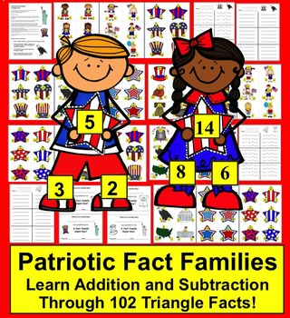 Memorial Day Math Activities:  102 Triangle Fact Families
