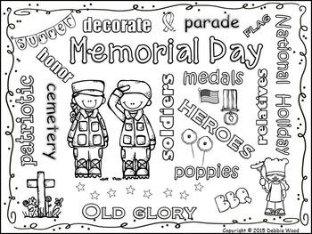 Memorial Day Vocabulary Word Art Fun