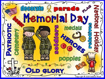 Memorial Day Vocabulary Word Art Poster FREEBIE