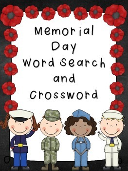 Memorial Day Word Search and Crossword Puzzle *FREEBIE*