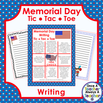 Memorial Day Writing - Tic Tac Toe