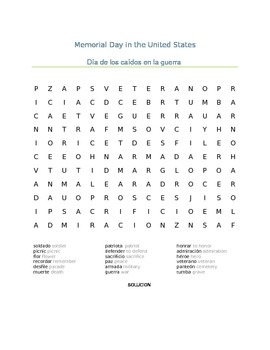 Memorial Day in the USA Spanish Word Search- Dia de los caidos