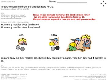 Memorize the addition facts for 10