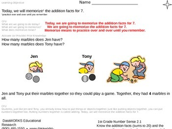 Memorize the addition facts for 7