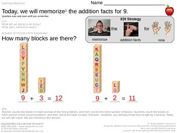 Memorize the addition facts for 9