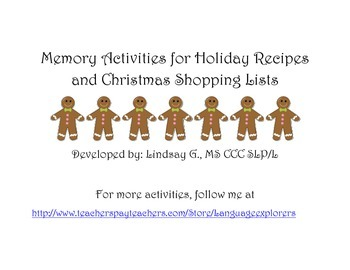 Memory Activities for Holiday Recipes and Christmas Shoppi