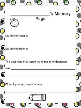 Memory Book for Kindergarteners