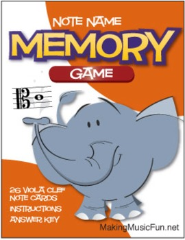 Memory (Concentration) Game | Viola Clef Note Names (Digit