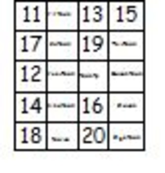 Memory Game numbers 11-19 using number names and tally marks