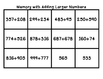 Memory Game with Addition