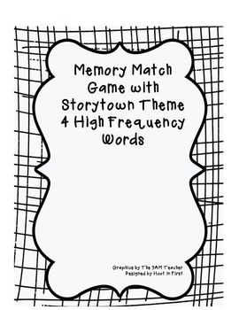 Memory Matching Game with Storytown Theme 4 High Frequency Words