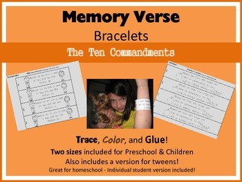 Memory Verse Bracelets - The Ten Commandments