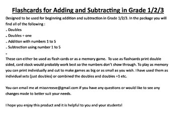 Memory and Flashcards for Doubles, Adding and Subtracting