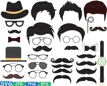Men's Props Props Party Photo Booth Birthday Clipart Bunti