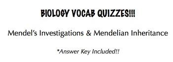 Mendel's Investigations & Mendelian Inheritance Vocab Quizzes