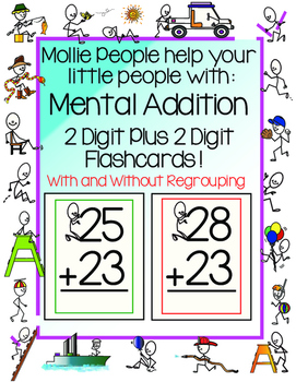 Mental Addition:  2 Digit Plus 2 Digit Flashcards--With an