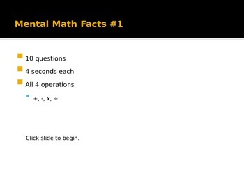 Mental Math Facts power points