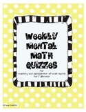 Mental Math Quizzes Fall (Weekly)