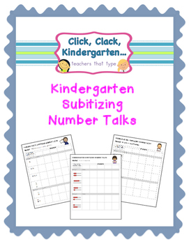 Mental Math Subitizing Number Talks for Kindergarten Recor