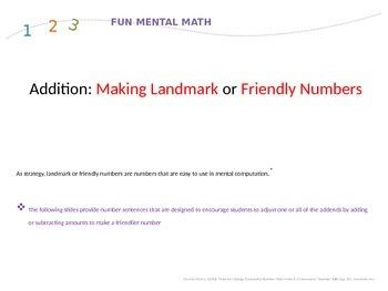 Mental Math Using Making Tens and Landmark or Friendly Num