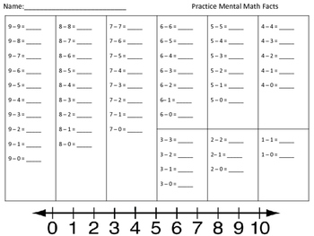 Mental math - Subtraction