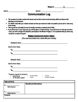 Mentor Communication Log