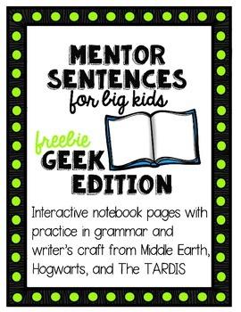 Mentor Sentences for Big Kids: Geek Edition Freebie