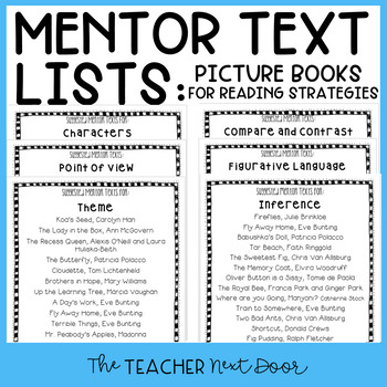 Mentor Text List for Reading Strategies: Literature Freebi
