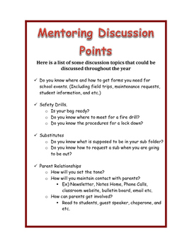 Mentoring Discussion Points