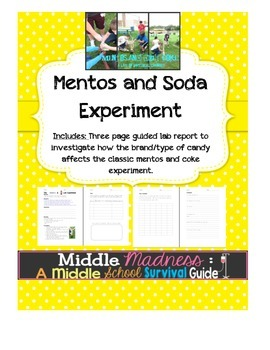 Chemical and Physical Changes Lab - Mentos and Soda Lab