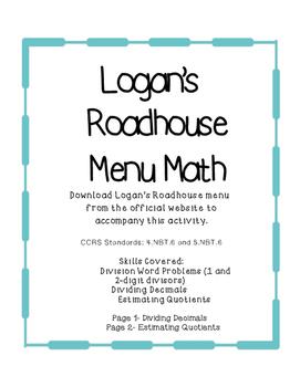 Menu Math for Logan's Roadhouse
