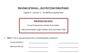 Merchant of Venice - Final Video Project & Rubric