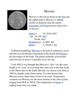 Mercury Common Core Info Sheet and Activity