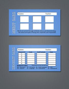 Merit / Demerit Cards - Box of 500