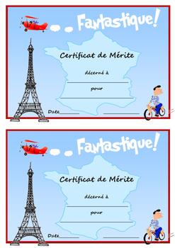 Merit certs in French, Spanish, German & Italian