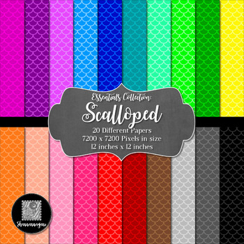 Mermaid 12x12 Digital Paper Basic Colors - Commercial or P