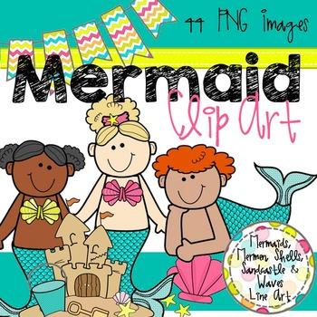 Mermaid Clip Art Bundle! ~ Color and Black & White