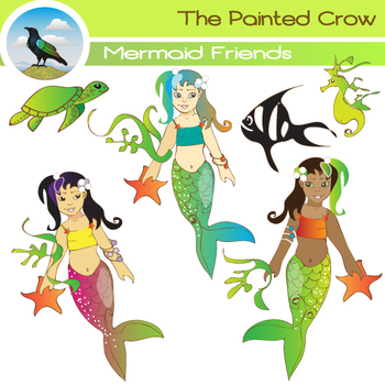 Mermaid Clipart - Mermaids and Aquatic Animal Friends